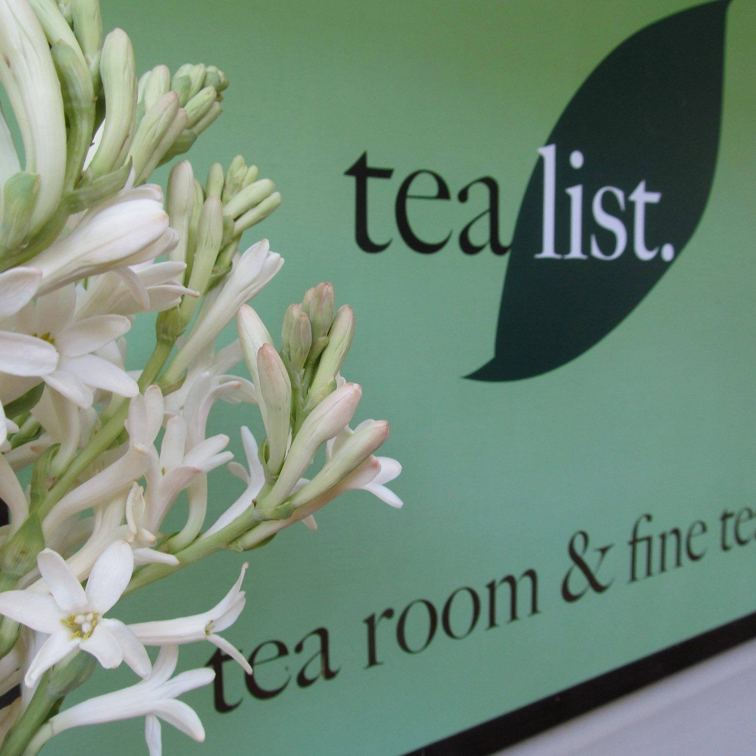 Tea List front sign with flowers