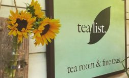 Tea List tea room & fine teas sign with sunflowers
